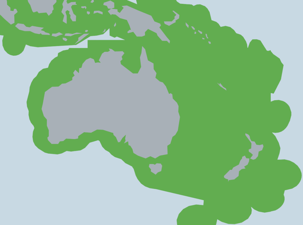 Australian Coverage 200 Nautical Miles plus from every mainland coast in the World